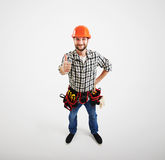 View from above of smiley builder Royalty Free Stock Photos