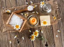 View from above of spa with products of chamomile Royalty Free Stock Photography