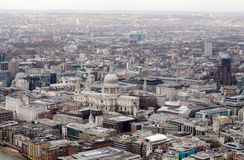 View from above of St Paul's Cathedral, London. View from a tall building of the imposing St Paul's Cathedral in the City of London Stock Photo