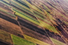 View from above. On straight farm fields Royalty Free Stock Images