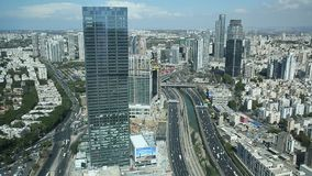 View from above on Tel Aviv, Ayalon Highway and Ramat Gan district. Israel stock video footage
