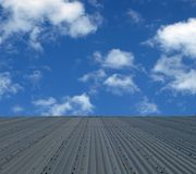 View above the tin roof. A beautiful spring sky above a metal roof. Nice for concept, or background. Shot taken in country NSW, Australia Stock Photography