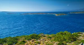View from above to Aegean sea. View from above to Aegean sea and small islands near Southern Chios, Greece stock images