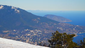 View from above to the city of Yalta. Mount Ay Petri Crimea stock footage