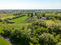 view from above to countryside in summer in Lipetsk region in Russia Royalty Free Stock Photo