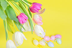 View from above to the easter tulips and eggs Royalty Free Stock Photos