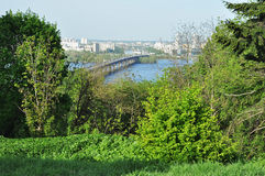 View from above to the left bank of Dniper river, Kyiv Royalty Free Stock Photos