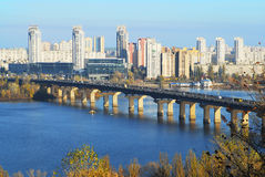 View from above to the left bank of Dniper river, Kyiv, Ukraine Stock Photos