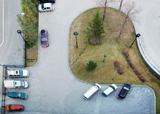 View from above to a parking next to the house royalty free stock image