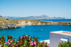 View from above to Saint Pauls Bay from the Acropolis. Lindos, Rhodes, Greece royalty free stock image
