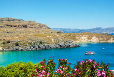 View from above to Saint Pauls Bay from the Acropolis. Lindos, Rhodes, Greece stock images