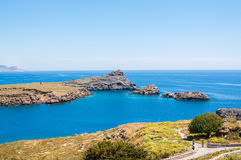 View from above to Saint Pauls Bay from the Acropolis. Lindos, Rhodes, Greece royalty free stock photos