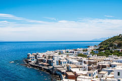 View from above to Saint Pauls Bay and Lindos city from the Acropolis. Lindos, Rhodes, Greece royalty free stock photos