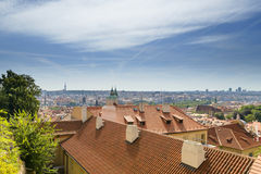 View from above to tiled roofs of old town, panorama Prague, Czech republic Royalty Free Stock Image