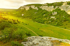 View from above to the valley among the mountains Royalty Free Stock Image