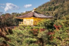 View from above of the Golden Pavilion, Kyoto, Japan. View from above of the top of the beautiful roofs of Golden Pavilion surrounded by the forest almost close royalty free stock image