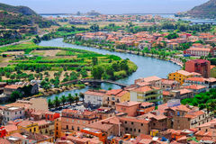 View from above on the town Bosa and river Temo flowing into the Royalty Free Stock Photos