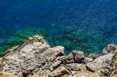 View from above on transparent blue sea water and rocks Stock Images