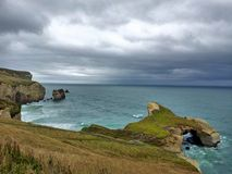 View from above tunnel beach. The view from above tunnel beach in Dunedin, New Zealand Stock Photo