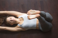 View from above. Upward Extended Feet Yoga Pose Royalty Free Stock Photography