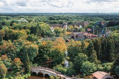 View from above on the various roller coasters in the amusement royalty free stock photo