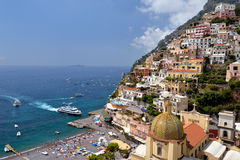 View from above of the village of Positano. Stock Photo