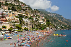 View from above of the village of Positano. Royalty Free Stock Images