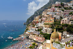 View from above of the village of Positano. Stock Images