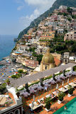 View from above of the village of Positano. Stock Photos