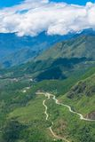 View from above on winding mountain road Royalty Free Stock Photos