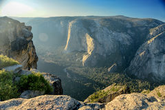 View from above on Yosemite valley from Taft Point. Sierra Nevad Royalty Free Stock Photo