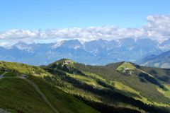 View above Zell am See. In the Austrian Alps Stock Photography