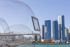 View on Abu Dhabi from the fishing harbour. With nets on the foreground Stock Photo