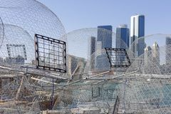 View on Abu Dhabi from the fishing harbour. With nets on the foreground Royalty Free Stock Photos