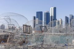 View on Abu Dhabi from the fishing harbour. With nets on the foreground Royalty Free Stock Photo