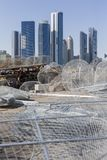 View on Abu Dhabi from the fishing harbour. With nets on the foreground Stock Photography