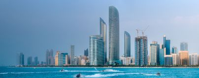 View of Abu Dhabi Skyline at day time, UAE. View of Abu Dhabi Skyline at day time, United Arab Emirates stock images