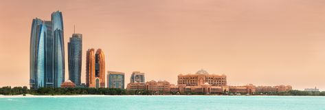 View of Abu Dhabi Skyline on a sunny day, UAE stock photography