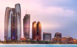 View of Abu Dhabi Skyline at sunrise, UAE Royalty Free Stock Photo