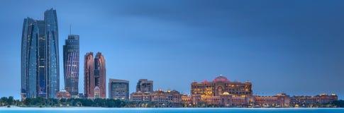 View of Abu Dhabi Skyline at sunrise, UAE Stock Photography