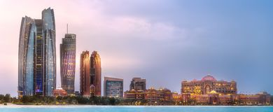 View of Abu Dhabi Skyline at sunrise, UAE Royalty Free Stock Photos