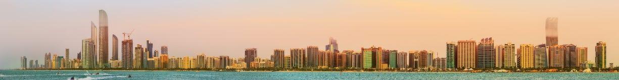 View of Abu Dhabi Skyline at sunset, UAE royalty free stock image