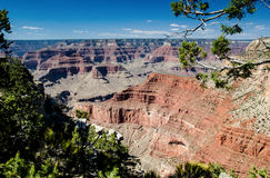 View into the Abyss, Grand Canyon National Park. Overlook from Rim Trail in Grand Canyon National Park, The Abyss Stock Image