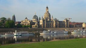 View of the Academy of Arts building and the Elbe river. Dresden, Germany