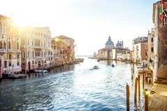 View from Accademia Bridge on Grand Canal in Venice Stock Image