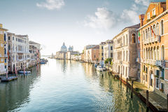 View from Accademia Bridge on Grand Canal in Venice Royalty Free Stock Photography