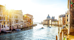 View from Accademia Bridge on Grand Canal in Venice, Italy Stock Photos