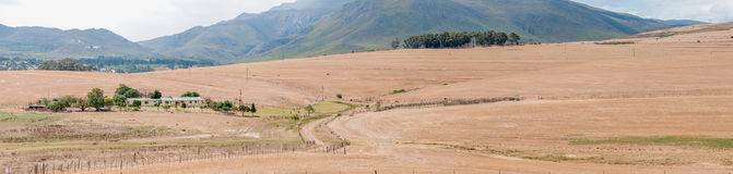 View accross a farm near Bot River. BOTRIVER, SOUTH AFRICA - DECEMBER 25, 2014: View accross a farm near Bot River in the Overberg region of the Western Cape Royalty Free Stock Photo