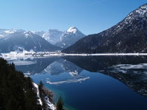 View of Achensee. View with reflection at lake Achensee in Austria Royalty Free Stock Photos