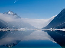 View of Achensee. View and beautiful reflection at lake Achensee in Austria Stock Images